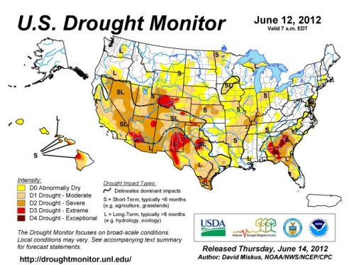Map of drought severity in US